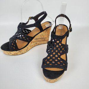 QUPID cork wedge heel black sandal shoes 7